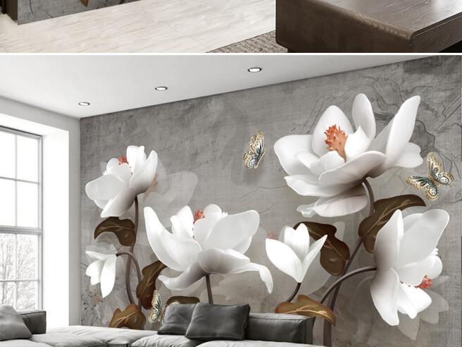 Фотообои Цветущие белые цветы