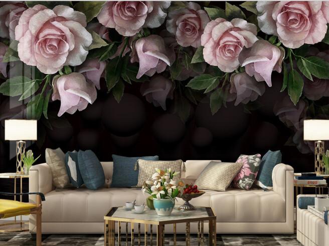 Фотообои Розы на темном фоне