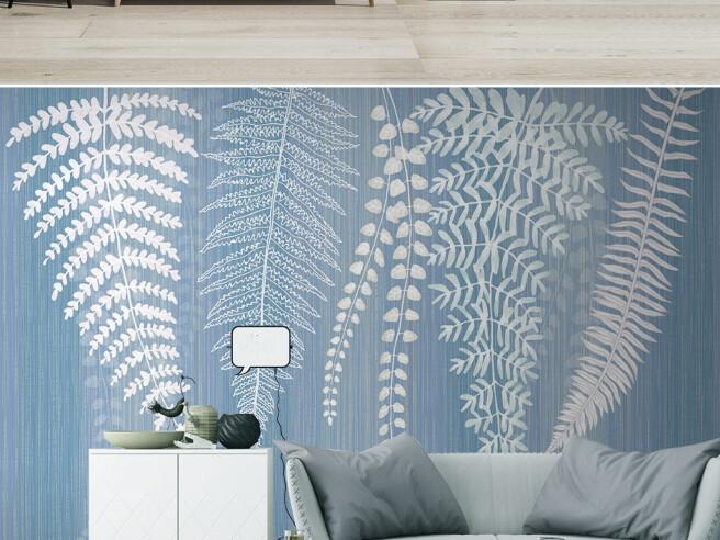 Белые ветви на голубом фоне