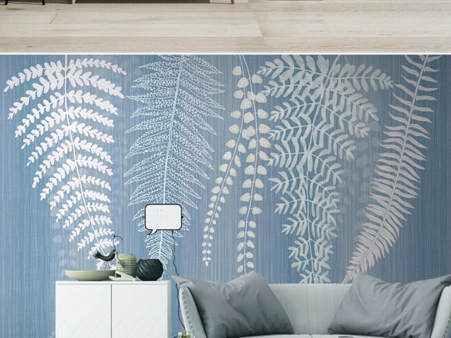 Фотообои Белые ветви на голубом фоне