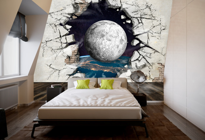 Фотообои планета в разбитой стене