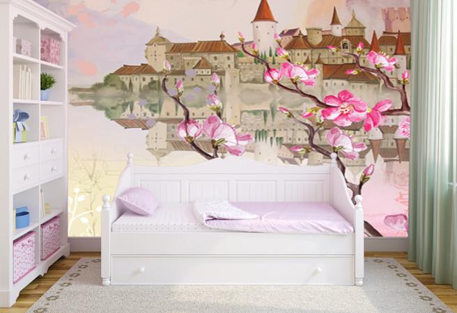 Фотообои Замок и сакура