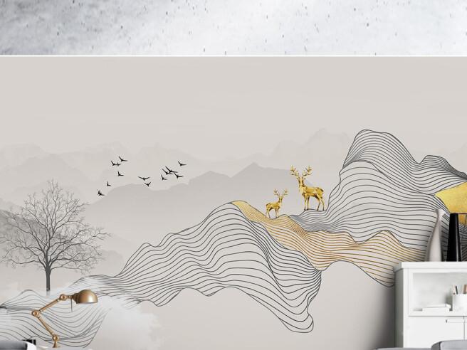 Золотые олени на проекции гор
