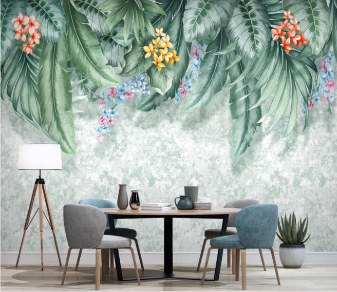 Фотообои цветы в тропических листьях
