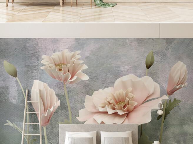 Фотообои Большие бежевые цветы
