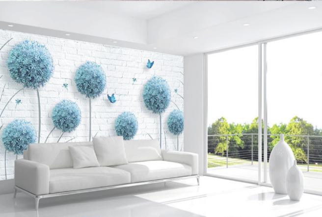 синие 3д цветы на кирпичной стене