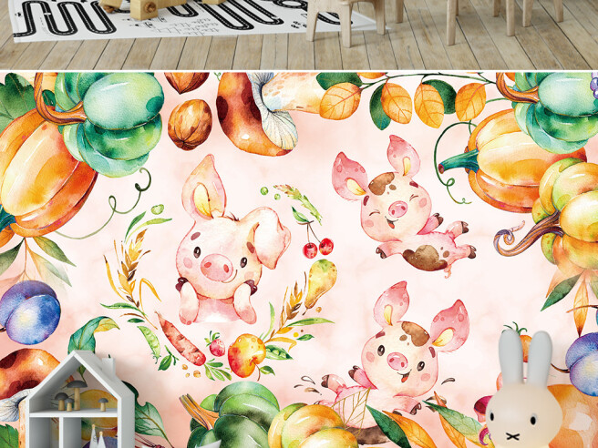 Фотообои Поросенок в овощях