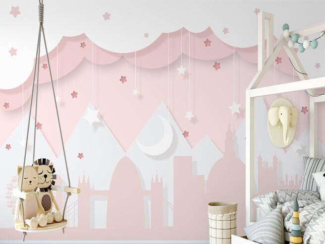 Фотообои Розовые горы и звезды