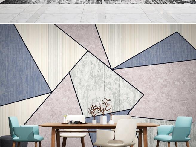 Фотообои Синие и бежевые треугольники