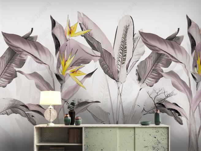 Фотообои Серые листы пальм