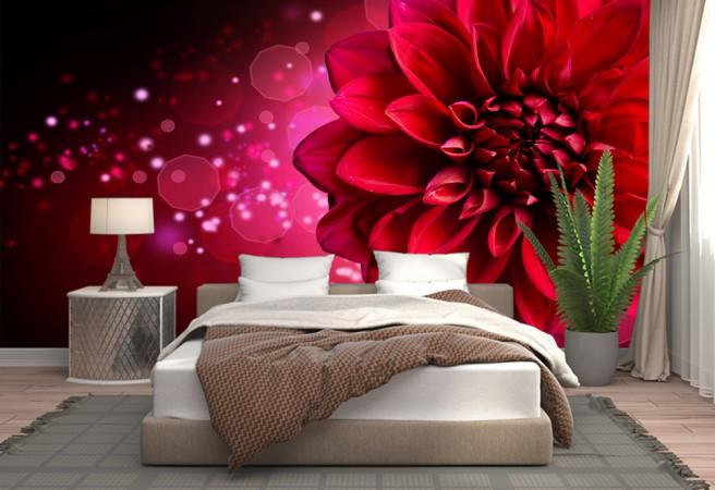 Красный цветок с блестками