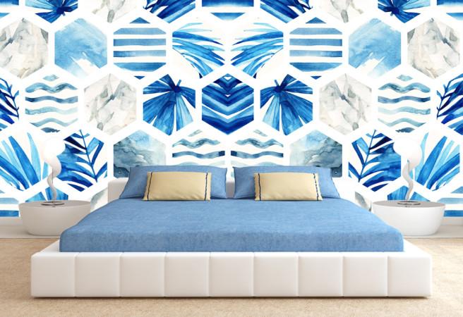 мозаика из синих листьев