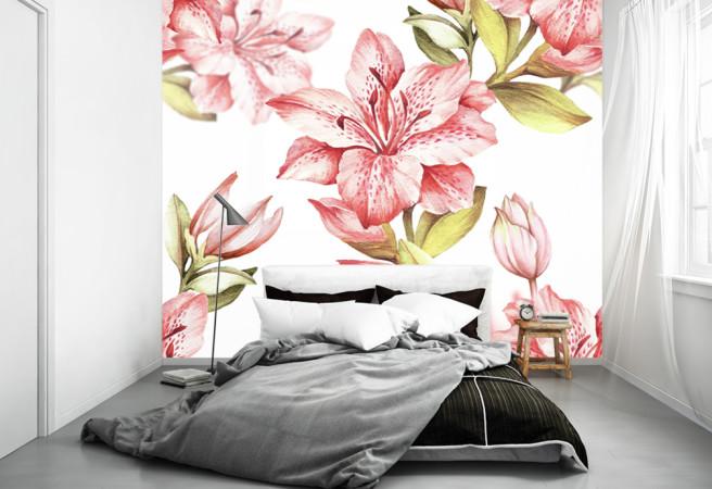 Фотообои розовые лилии