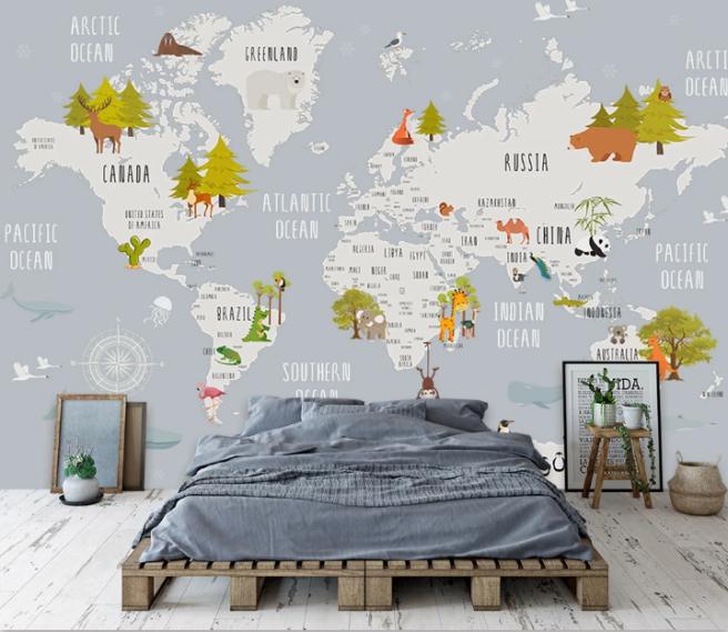 Фотообои Детская карта в скандинавском стиле