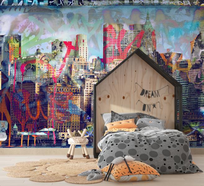 Фотообои небоскребы с граффити
