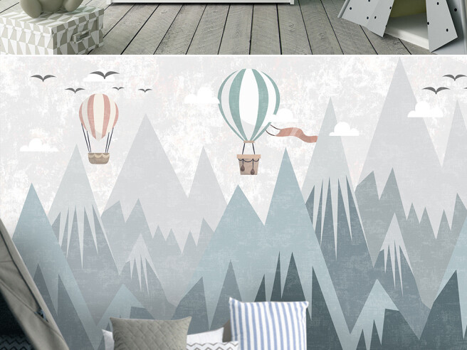 Фотообои Треугольные горы и воздушные шары