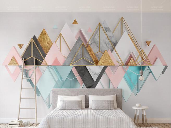 Фотообои Треугольные разноцветные горы