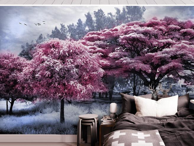 Фотообои Розовые деревья и олени