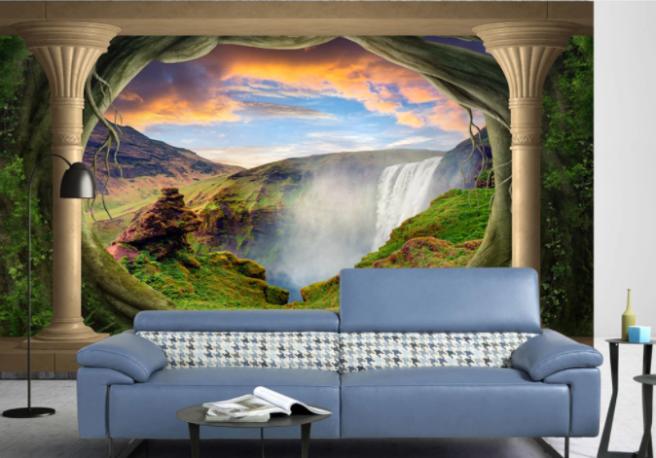 Фотообои водопад с колоннами