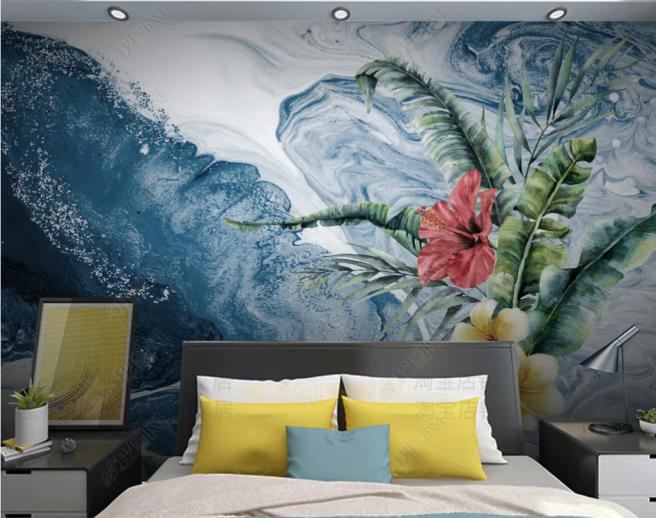 Фотообои тропический цветок на синем фоне