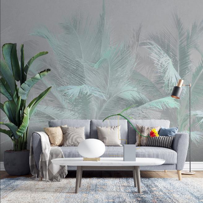 Фотообои тропический лист в нежном цвете