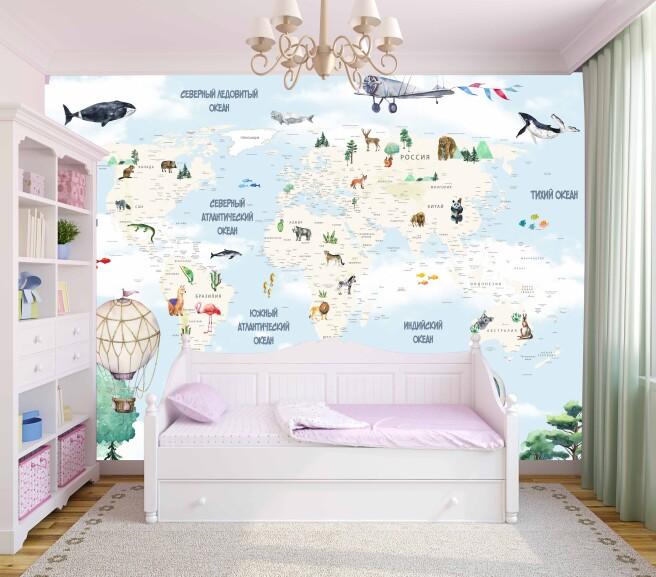 карта с животными и горами