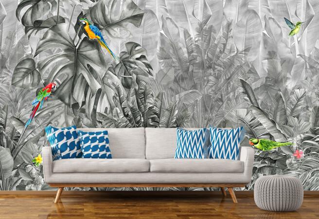 Фотообои чб тропики и попугаи