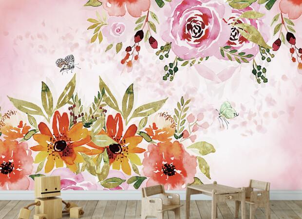 Нарисованые акварелью яркие цветы