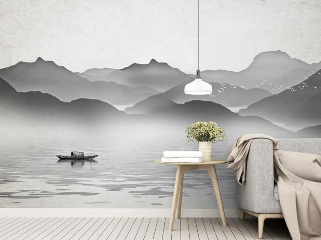 Фотообои Серые горы в тумане