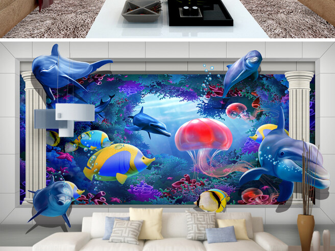 Морской мир медуза дельфин