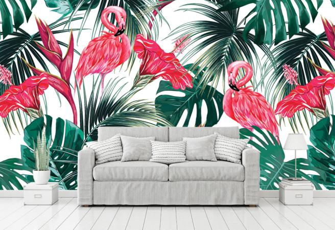 Фотообои заросли и фламинго