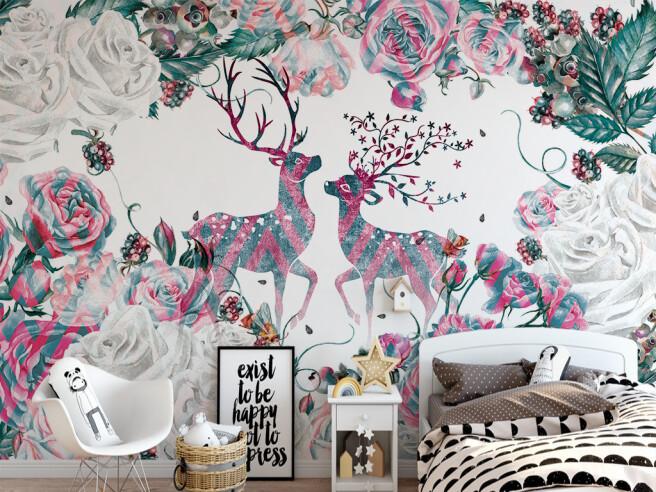 Разноцветные олени и цветы