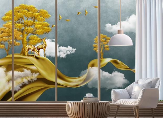 Золотая лента в облаках
