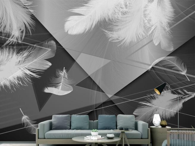 Фотообои Перья на черно-белом фоне
