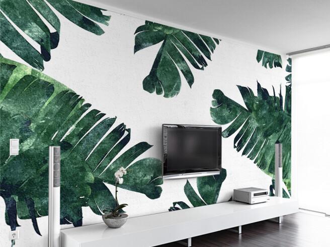 Листья пальмы на текстурной стене