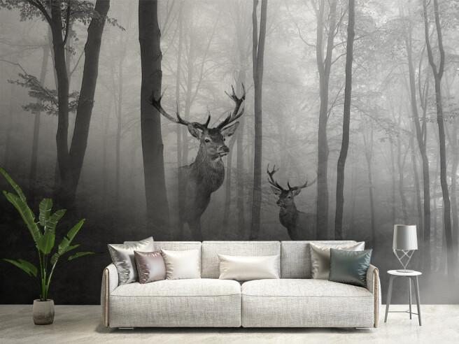 Фотообои Олени в туманном лесу