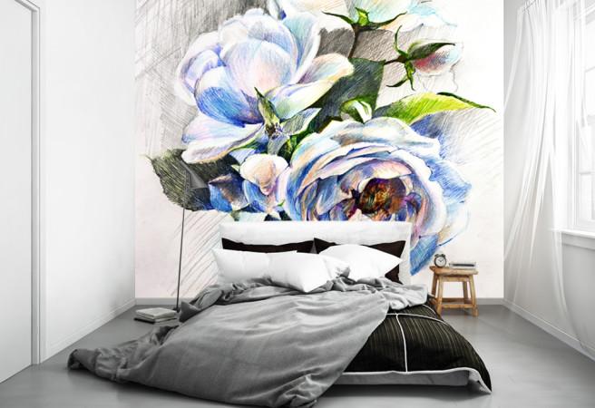Фотообои розы карандашом