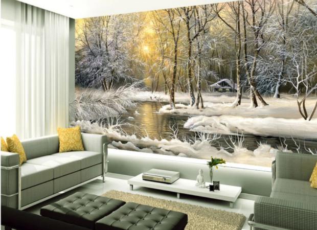зимний лес и озерцо