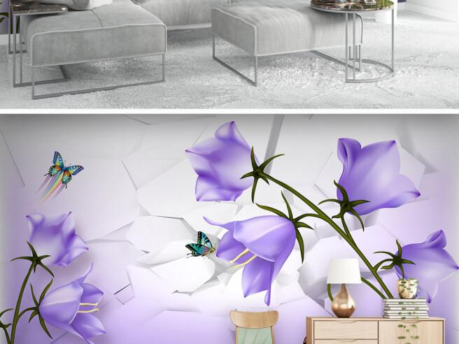 Фотообои Бабочки на колокольчиках