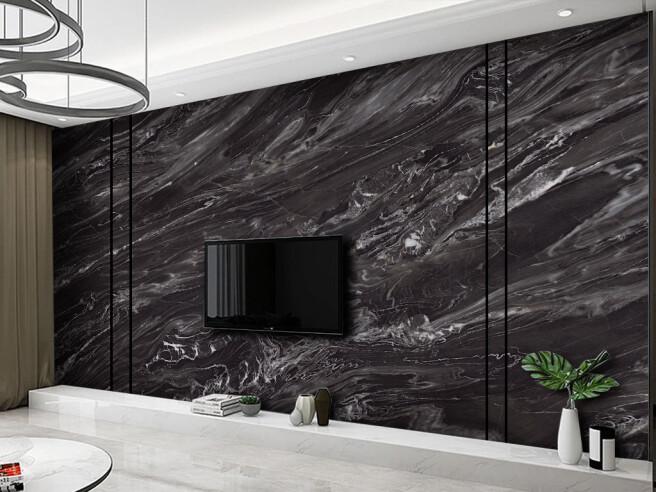 Черный гранит на стене