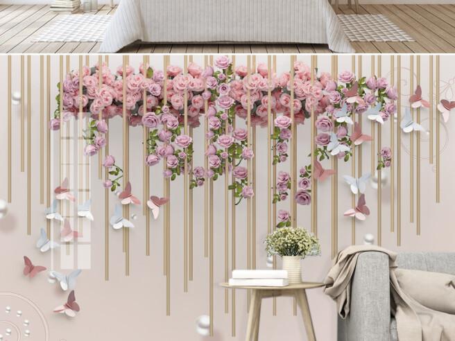 Фотообои Чайная роза и бабочки