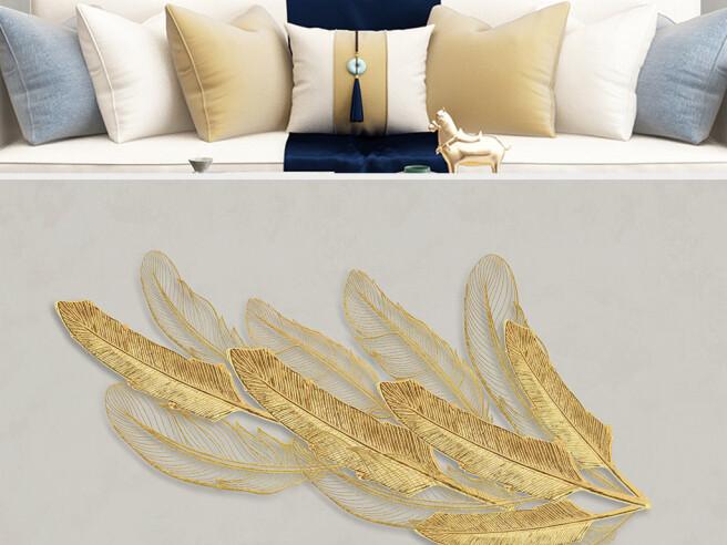 Фотообои Длинные золотые листья