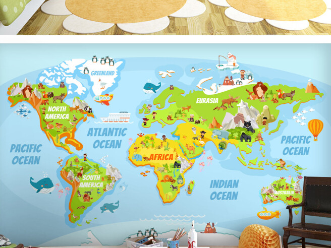 Фотообои Зеленая карта мира
