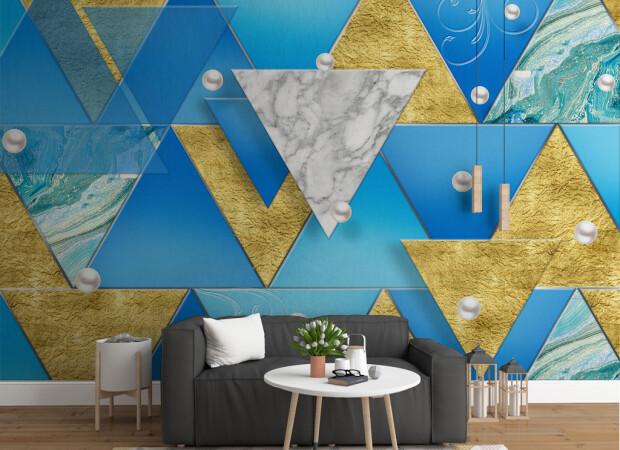Объемные сине-золотые треугольники