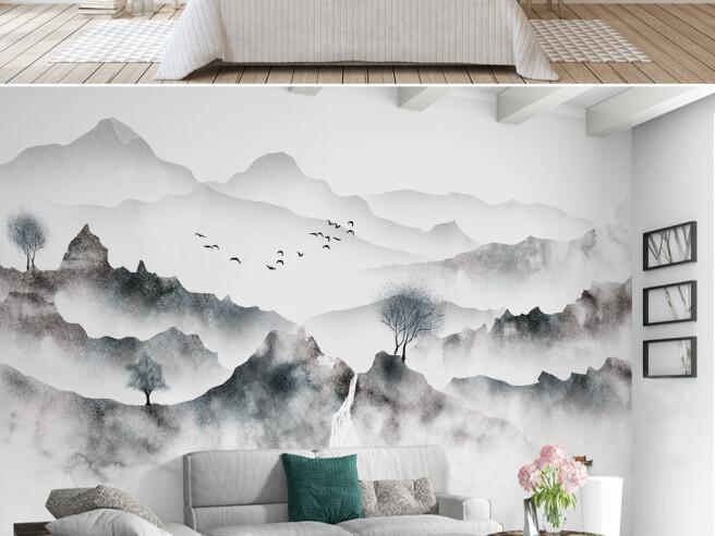 Фотообои Темные горы в тумане
