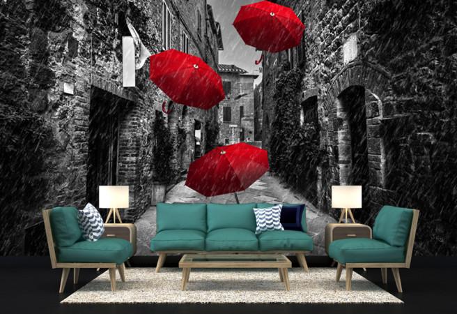 красные зонты