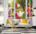Фотообои окно в цветущий сад
