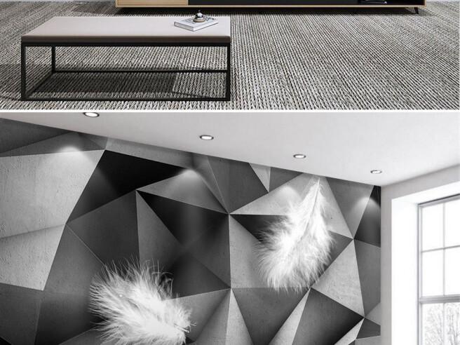 Фотообои Перья на бетонной структуре