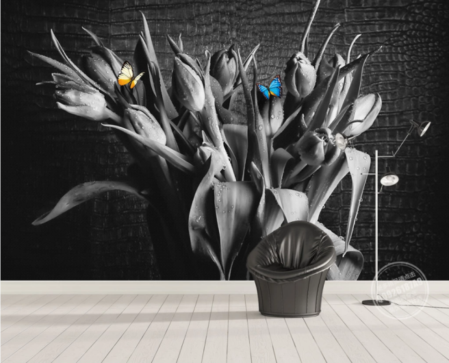Фотообои цветы в вазе и бабочки