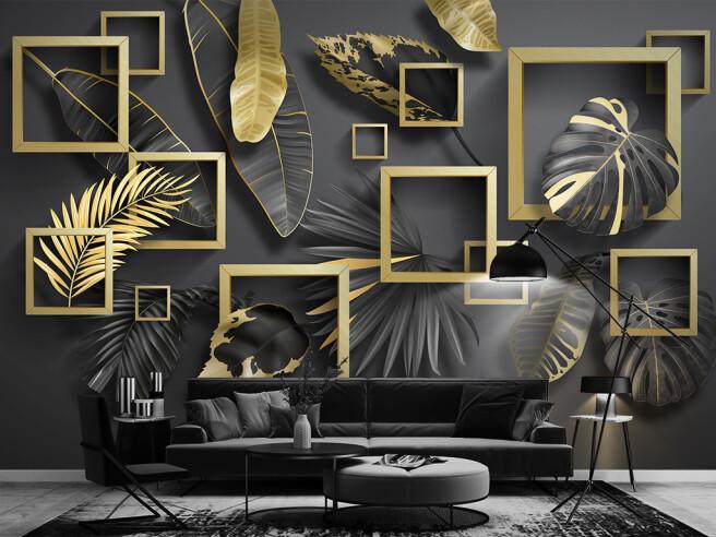 Листья в золотых рамках